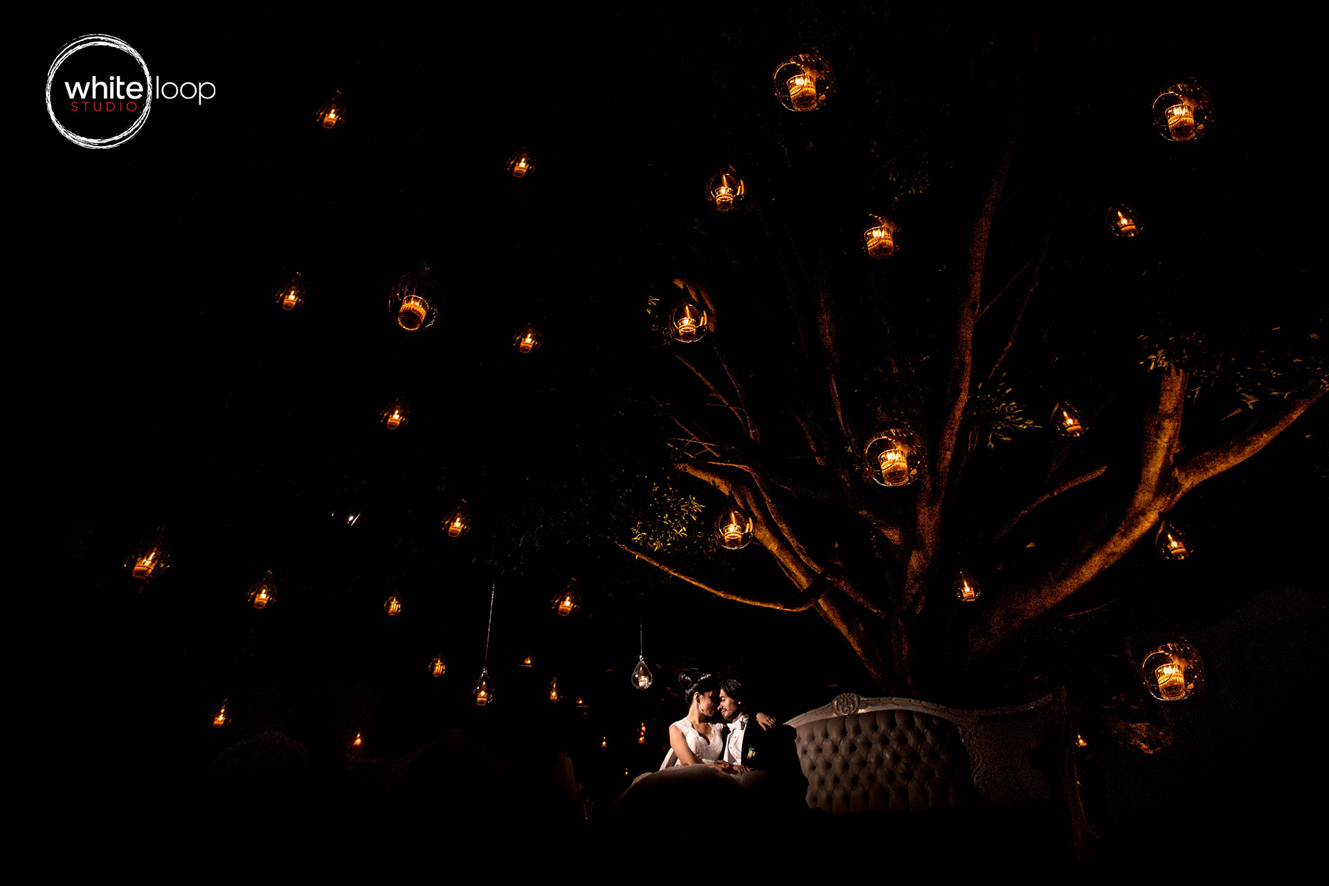 The bride and groom sitting under a full of lights hanging from tree branches, illuminating the couple with a flash to highlight their presence.