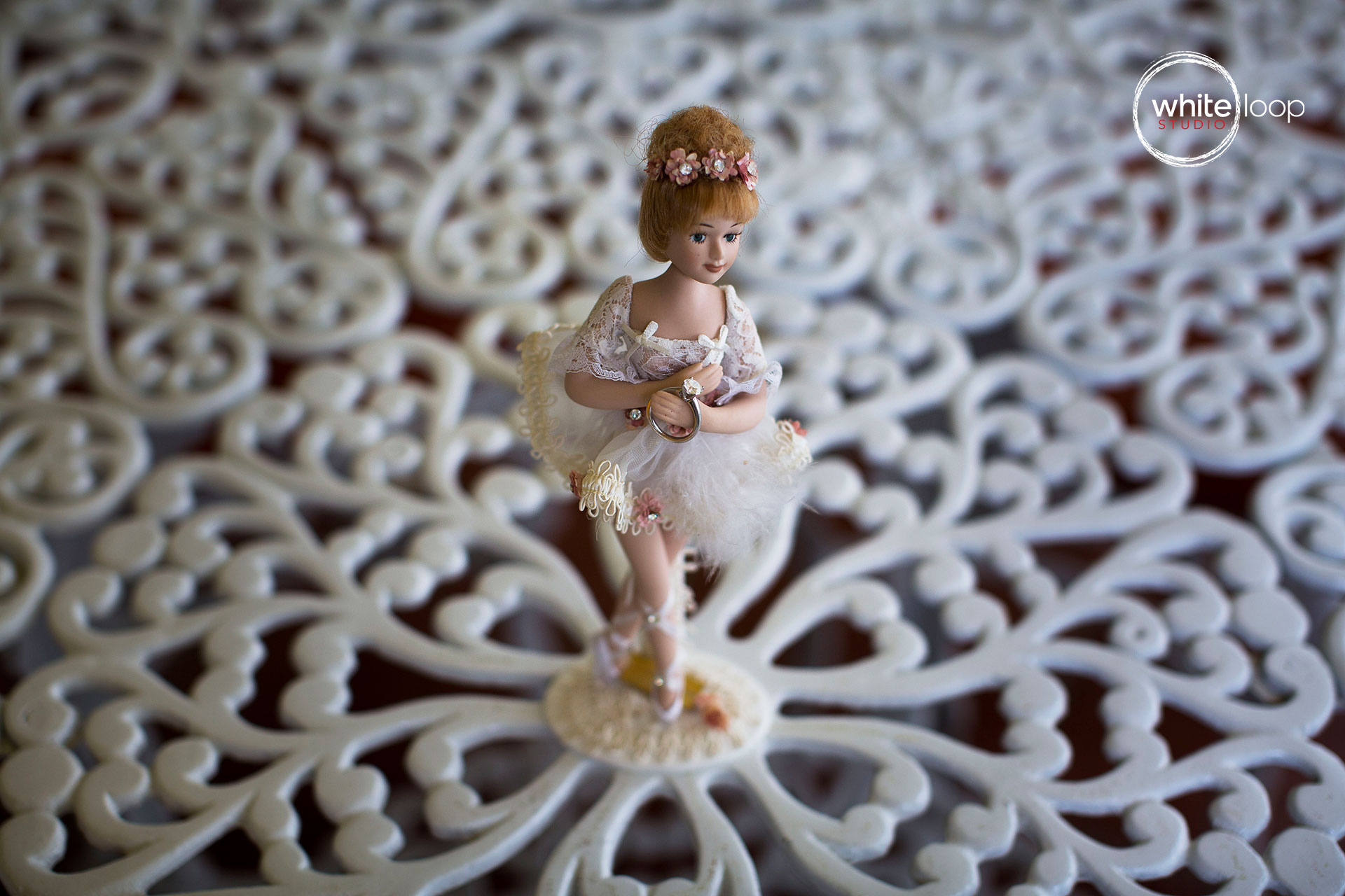 Wedding doll set in the middle of the table.