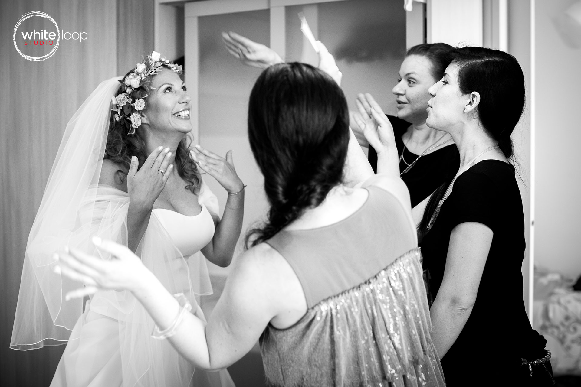 The bride ready and her close friends try to avoid cry of her big emotion.