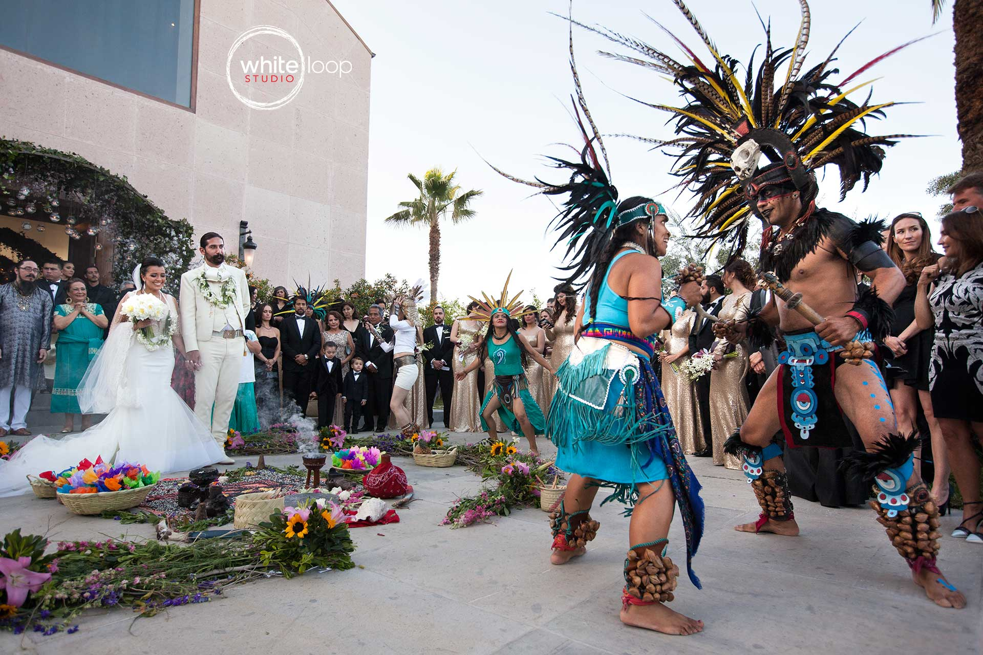 The bride and groom leave the church to witness a nahuatl tradition of Mexican culture, everything is planned in order to celebrate the marriage of the couple.
