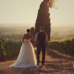 The bride and groom are holding each other hands while they are backlight in a North Italy grape field, the bride in the wedding dress and the groom in his suit.